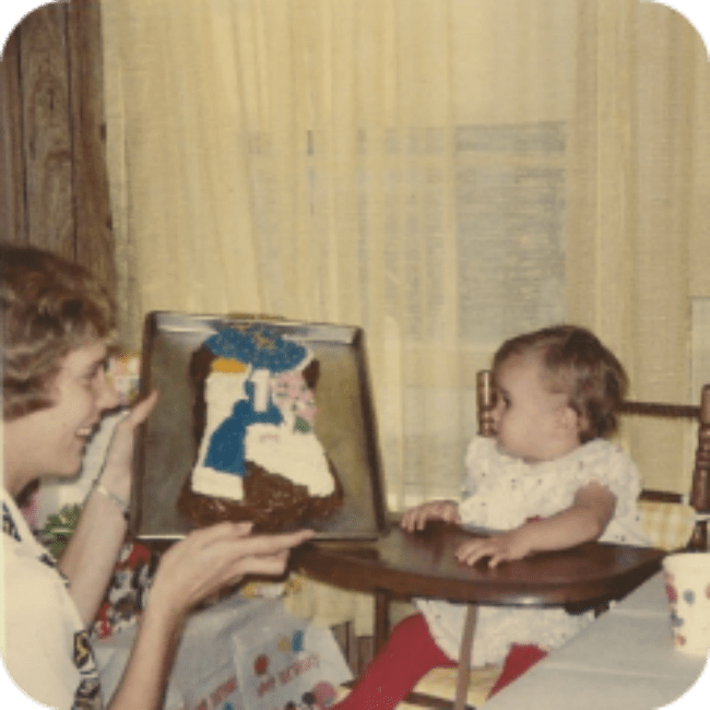 1978: Holly Hobbie Birthday Cake and some very Gen-X red tights.