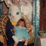 It's always a concern when an Easter Bunny won't look at the camera. The year was 1979. | Source