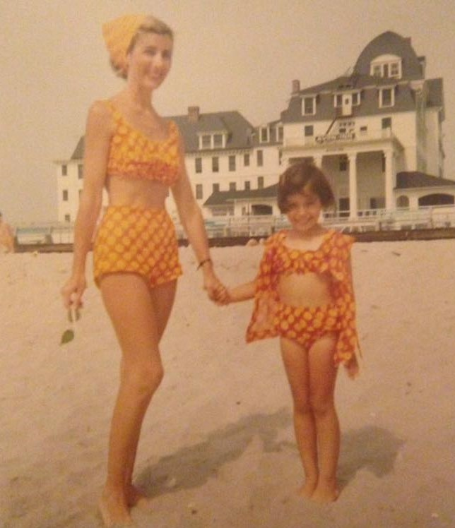 Mom and Daughter sporting matching two-piece bathing suits, Avon Inn, Mother's Day, 1967
