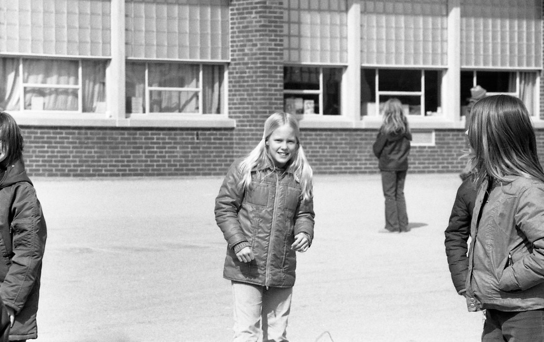 Girl in a coat in Winter 1974