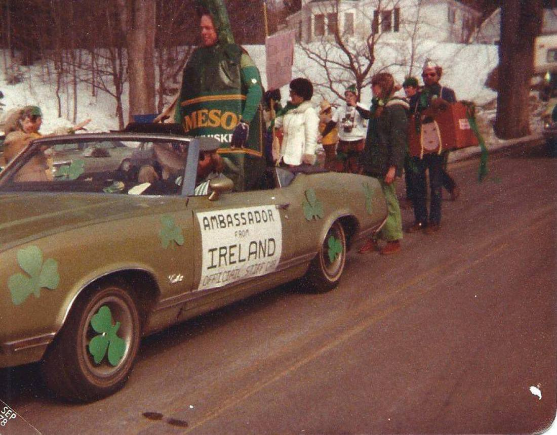 The 1978 St. Patrick's Day Parade in Downtown Glen, New Hampshire.