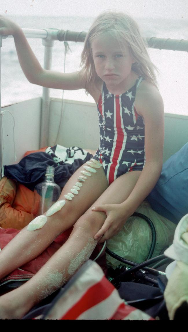 Girl in a Bicentennial Bathing Suit on a Boat in 1976