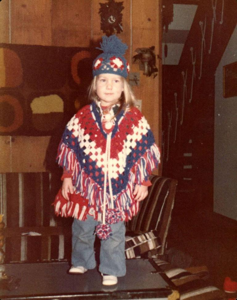 Red White and Blue 1970s Poncho