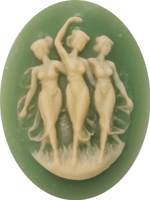 The Three Graces Green Cameo