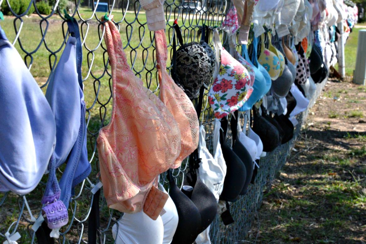 Bras on fenceline for breast cancer awareness