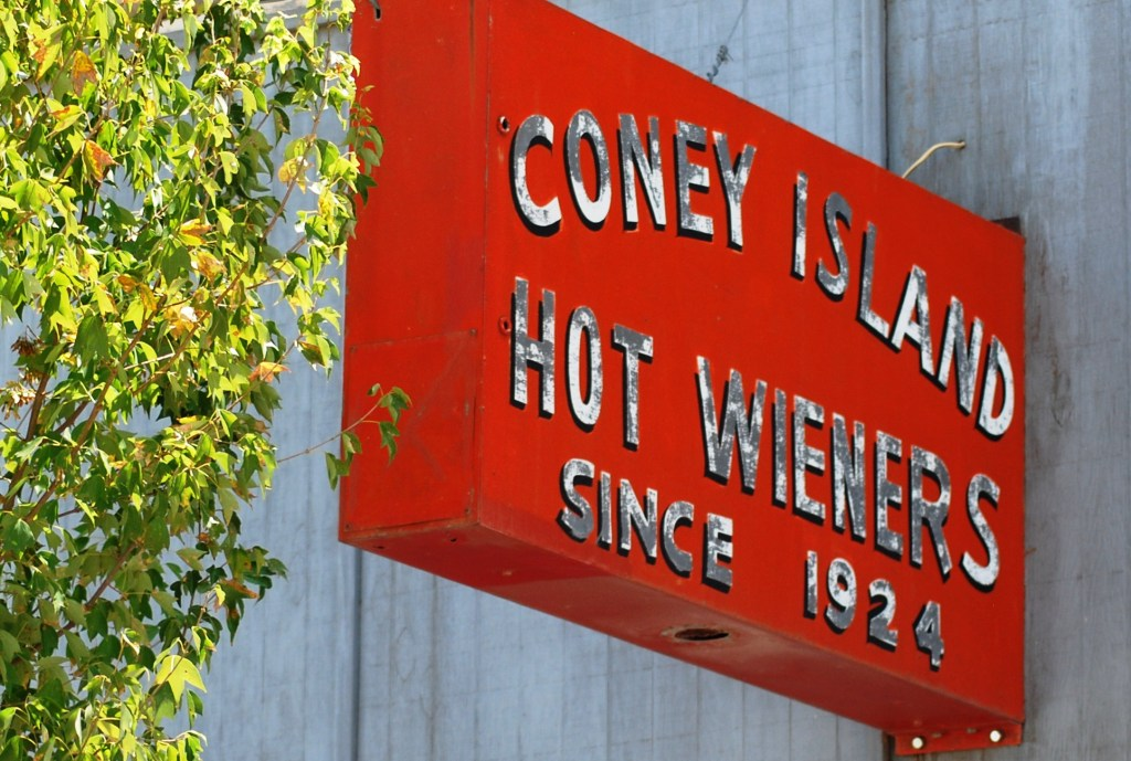 Old Orange Sign, Coney Island Hot Wiener Since 1924