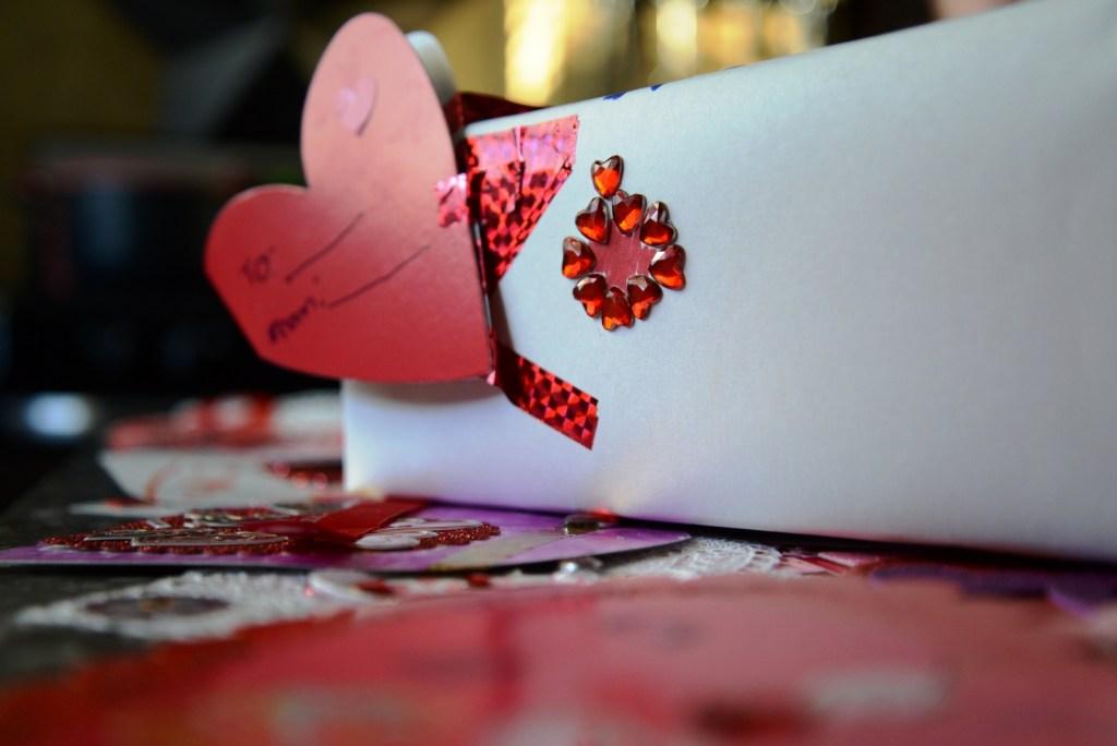 child's valentine box red hearts