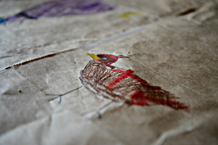 Drawing on paper sacks