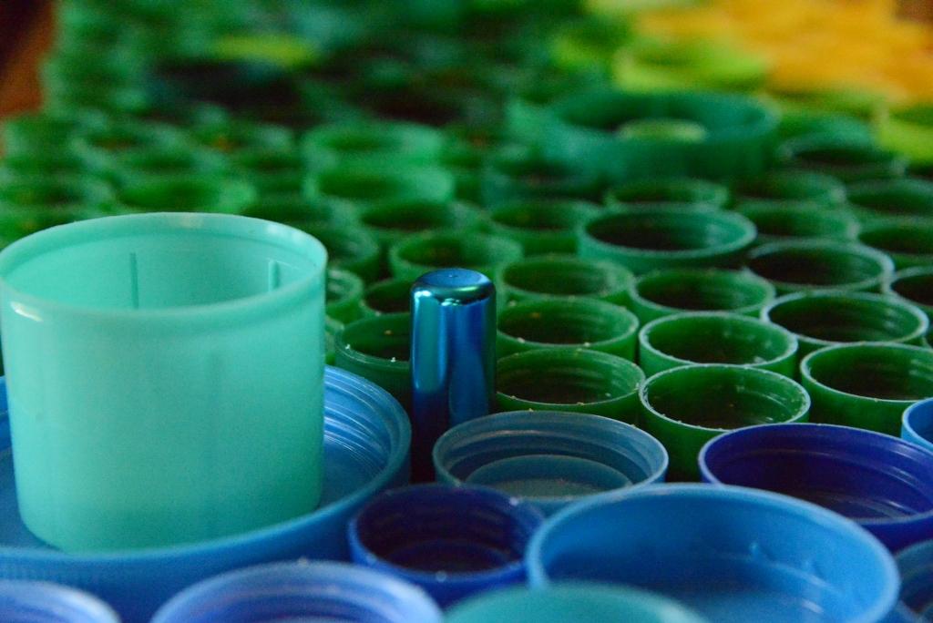 Green Metallic Blue Bottle Caps