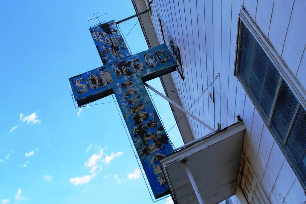 Old Neon Retro Church Sign Cross
