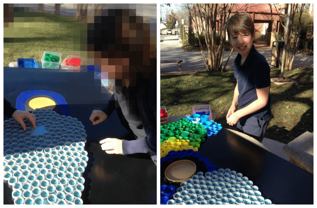 Kids Making Plastic Bottle Cap Art