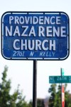 Old, hand-painted church sign
