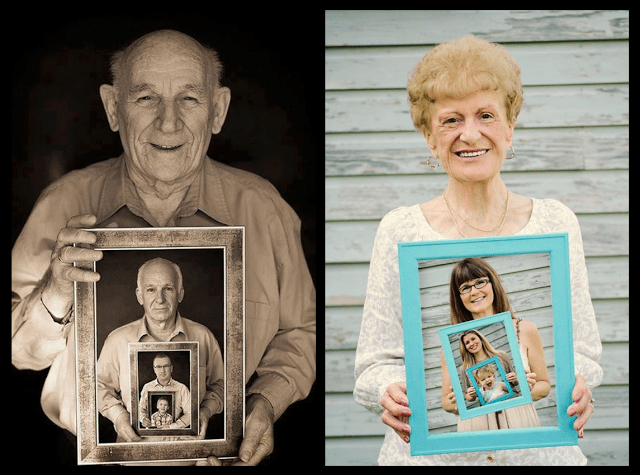 Four generations holding pictures of each other