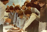 Jewish boy celebrates 1980 Bar Mitzvah with friends