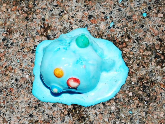 Blue Ice Cream melted on the ground
