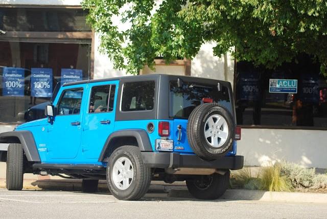 Bright Blue Jeep Wrangler