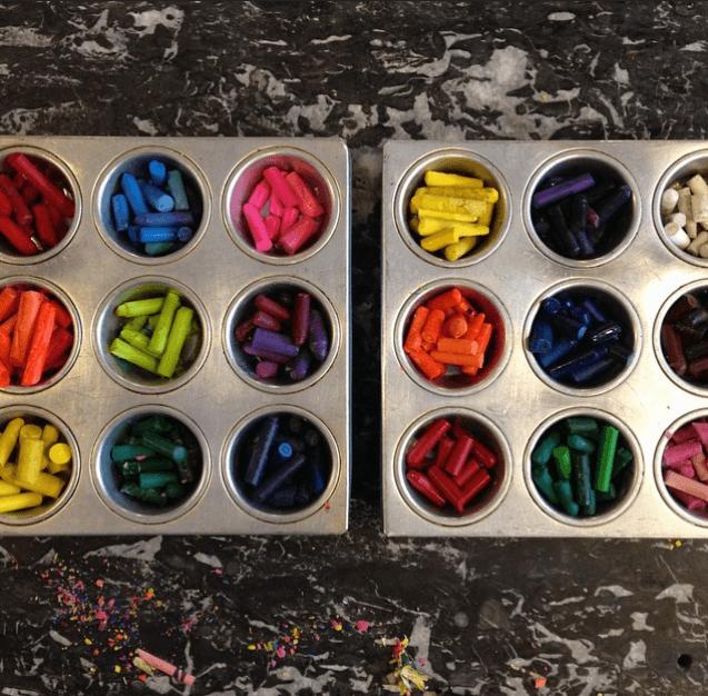 crayon muffins tins