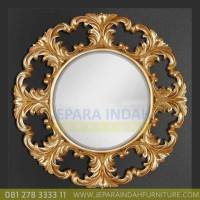 Cermin Kaca Dinding Ukiran Bundar Gold Leaf