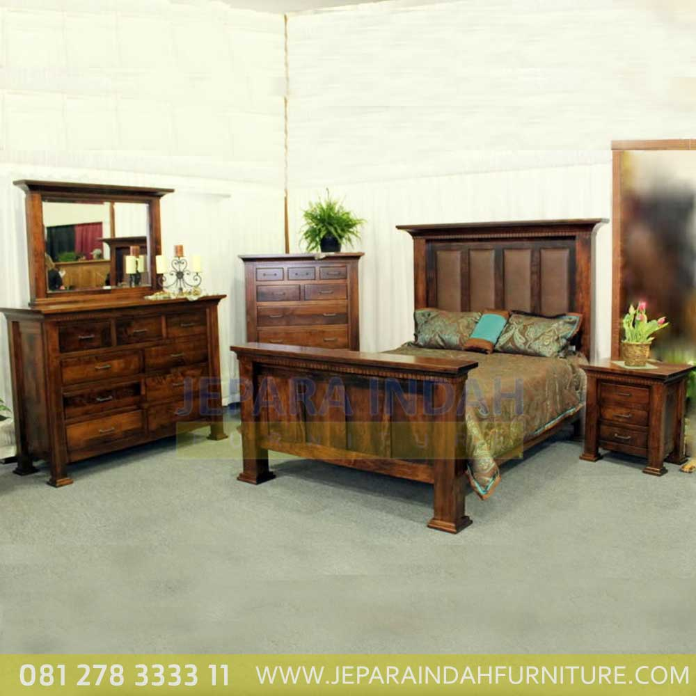 Set Kamar Tidur Minimalis Andrea Kayu Jati Reclaimed