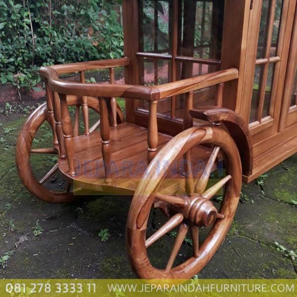 Harga Jual Meja Teh Model Trolley Ukir Jati Bagus