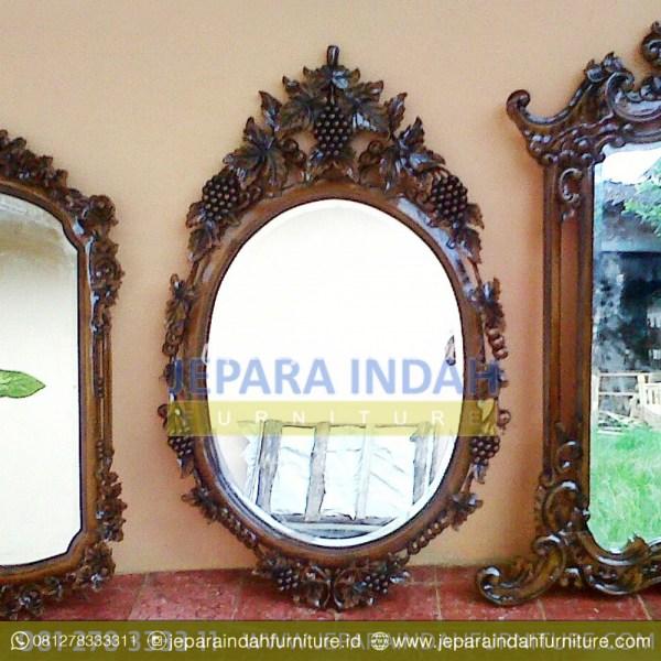 Pusat Jual Cermin Hias Oval Ukir Anggur (HDF PCH 003)