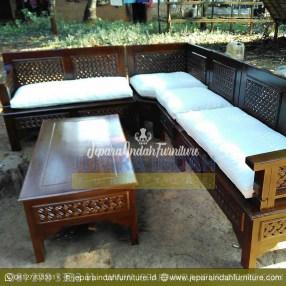 Harga Jual Kursi Tamu Sudut Jati Minimalis Kepang (LRF KTS 009)
