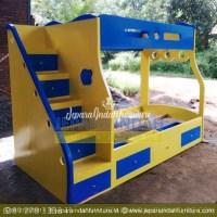 CRF TTT 019 Tempat Tidur Anak Model Tingkat Warna Kuning Biru