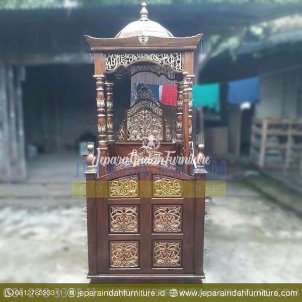 BKF MPD 001 Mimbar Masjid Kayu Jati Ukir Jepara Harga Murah