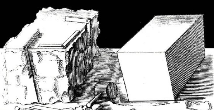 pierre brute, taillée, plate, cubique à pointe