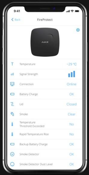 App AJAX - détecteur de fumées