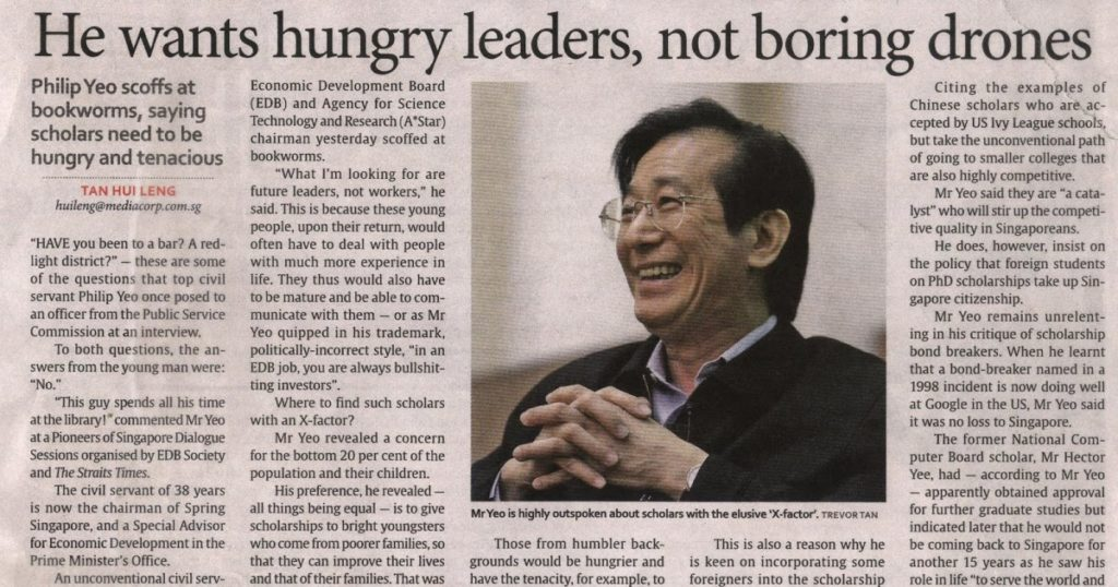 Philip Yeo wants hungry leaders, not boring drones