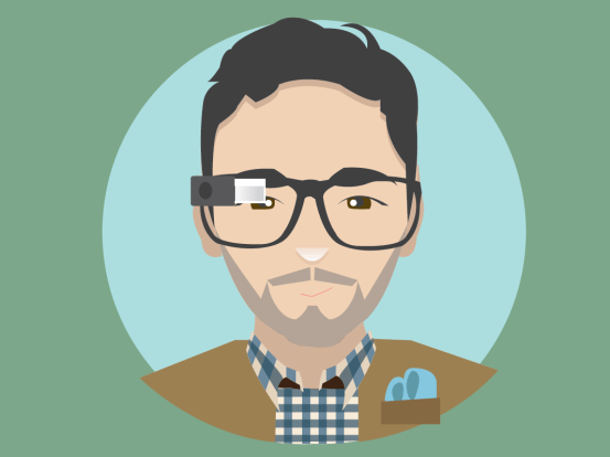 An Illustration of me wearing Google Glass by Virgina Poltrack, one of the Glass Explorers