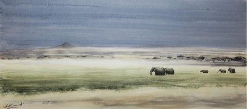 """Elephant Amboseli £1200 21""""x 10"""""""