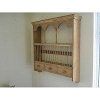 Pine wall plate rack, with spice drawers. W92cm.