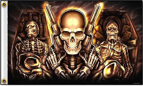 deluxe coffin skulls guns