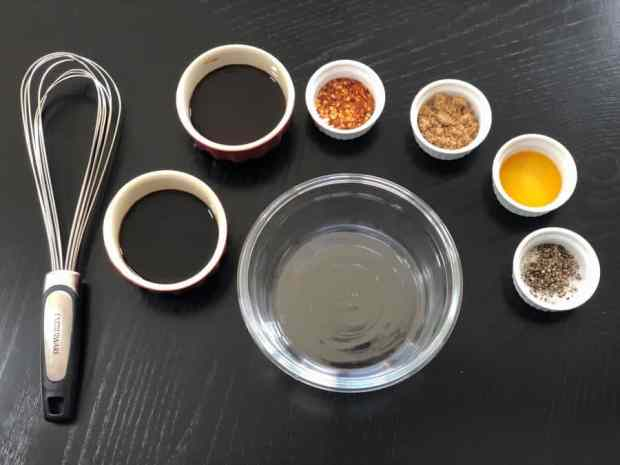 Ingredients, bowl, and whisk for jerky marinade