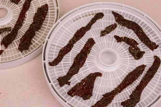 Peppered Venison on Dehydrator Trays