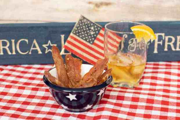 Citrus Bourbon with american flag and bourbon with lemon