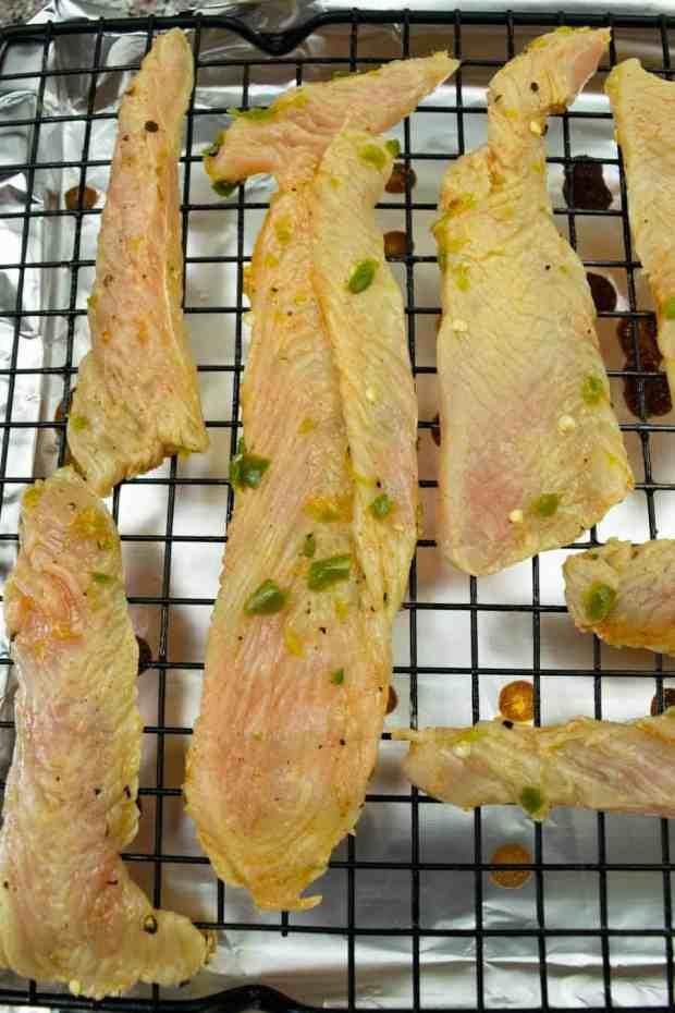 Turkey jerky on oven racks