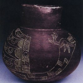 Figure 9. A representation of the Scorpius Constellation on a Mississippian pot from the Moundville Site located in Hale County, Alabama. It is in the form of the horned (sometimes feathered) serpent - the celestial form of the underwater panther, Piasa. This deity was an extremely important one in all of eastern North America native religions. Photo copied with permission from George Lankford.
