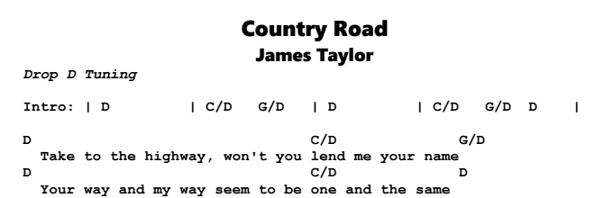 james taylor country road