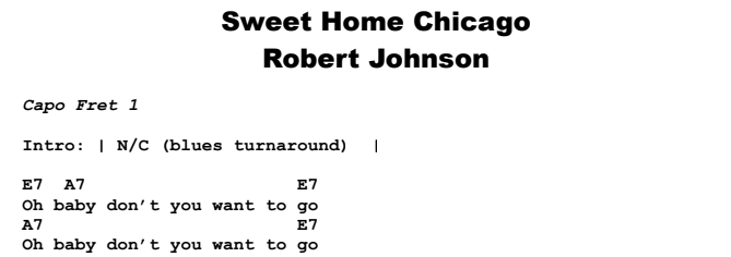 Includes ukulele tab for voice, range: Robert Johnson Sweet Home Chicago Guitar Lesson Tab Chords