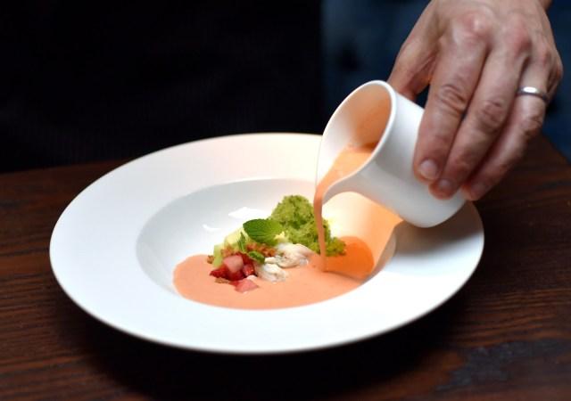 Salinas Strawberry Gazpacho Pour 1 lo by Michael Tulipan