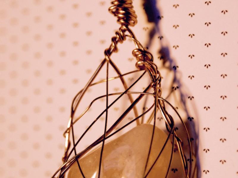 Caged gem pendant I created.