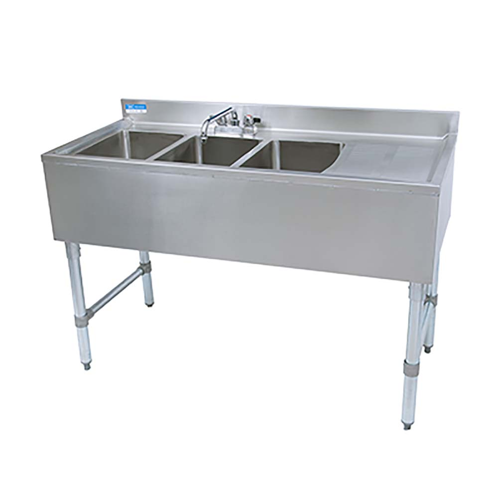 bk resources ub4 21 348rs underbar sink three compartment 48 w x 21 1 4 d x 32 1 2 h with faucet