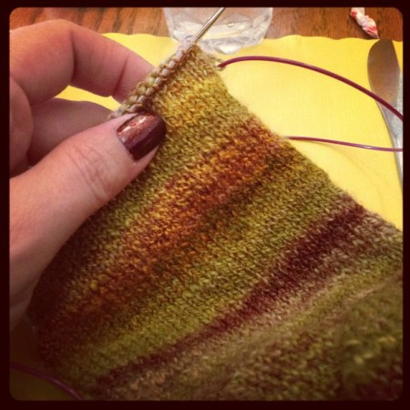 #KIP a handspun sock at (very) late breakfast #SITMM #knitting