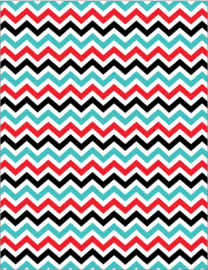 Teal, White, Red, Black chevron paper