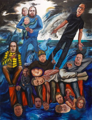 Fathers, sons and smelly spirits, 2019, oil on canvas, 226 x 174 cm