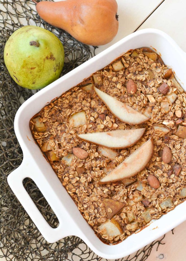 This easy Almond Pear Baked Oatmeal is the perfect breakfast for your busy week. It's packed with healthy ingredients and can be made ahead of time and quickly reheated!
