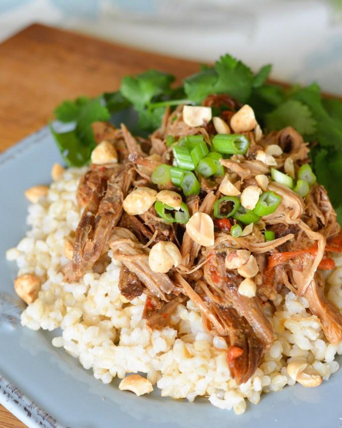 Crock Pot Thai Pork with Peanut Sauce